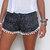 Pom Pom-Shorts - schwarz / weiß-Punktmuster mit weißen Pom Pom Trim - leichte chiffon