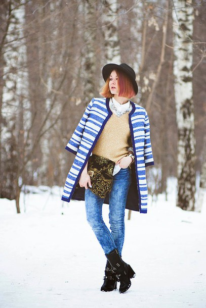 gvozdishe blogger coat blouse sweater jeans hat shoes