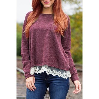 sweater fashion burgundy long sleeves brief women's slash neck laced long sleeve t-shirt warm cozy trendy cute girly fall outfits rose wholesale-dec
