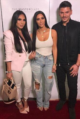 tank top top kim kardashian ripped jeans kardashians bodysuit