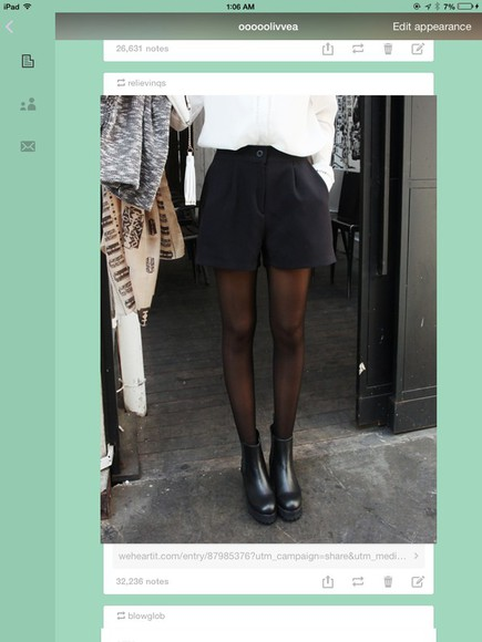 white blouse black shorts tights black shoes