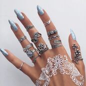 jewels,tumblr,ring,silver ring,henna,nail polish,jewelry,boho jewelry,knuckle ring,silver,boho,boho chic,bohemian,stacked jewelry