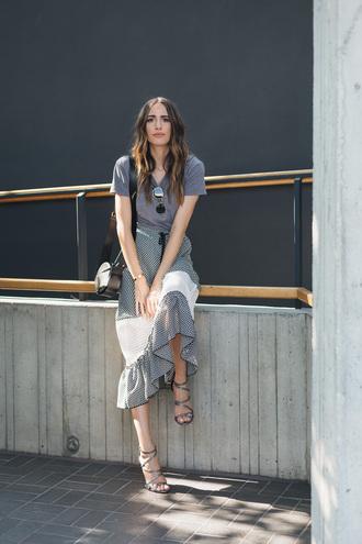 t-shirt tumblr grey t-shirt skirt midi skirt mesh net sandals sandal heels high heel sandals shoes