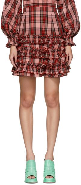 MOLLY GODDARD miniskirt pink tartan skirt
