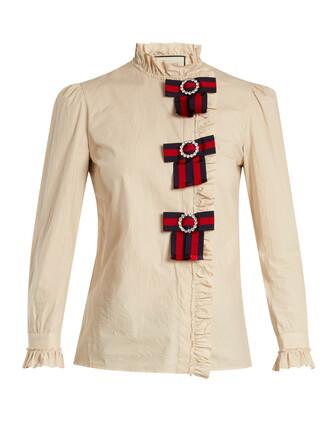 blouse bow cotton top