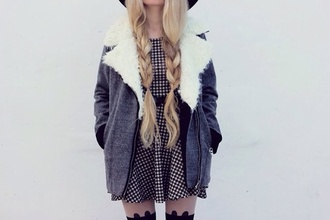coat grey white fur blue jeans dress fur coat plaid dress black and white plaid dress