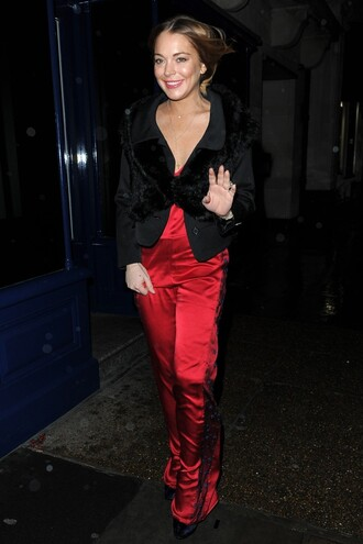 jumpsuit red lindsay lohan