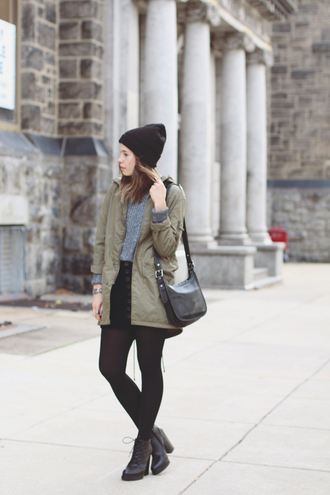 blogger khaki bag jewels orchid grey parka tights grey sweater beanie