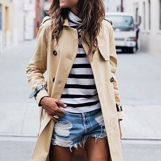 coat tumblr camel coat beige coat trench coat stripes top striped top distressed denim shorts denim shorts blue shorts shorts fall outfits