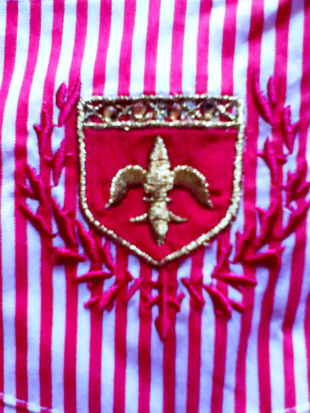 paris france blouse french french cuffs crest red and white red white gold fleur de lis heraldry coat of arms pin stripes pin stripe