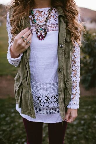long sleeve shirt fall outfits fall sweater fall jacket ootd ootn vest boho bohemian necklace accessories style dope jacket