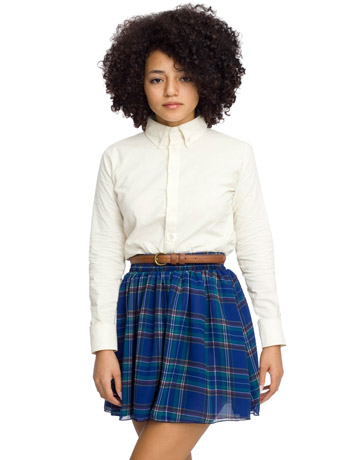 Plaid Chiffon Double-Layered Shirred Waist Skirt | Shop American Apparel