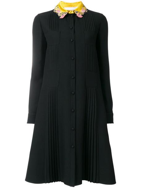 dress women floral black silk wool