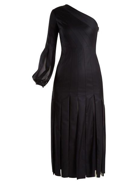 Gabriela Hearst dress pleated wool dark navy