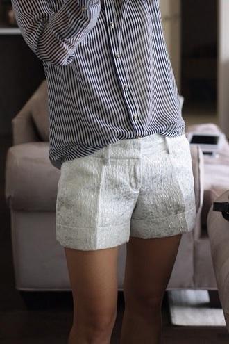 shorts blouse blue pinstripe blouse pinstripe blue and white blue and white striped white shorts