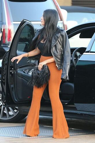 pants top high waisted kourtney kardashian flare pants jacket bell bottoms