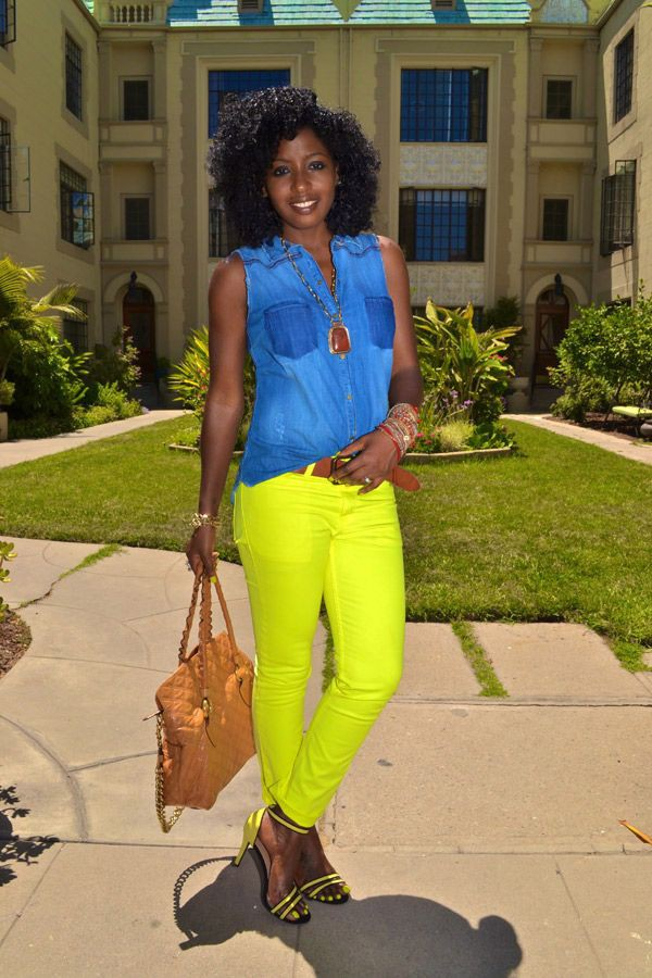 neon jeans yellow jeans