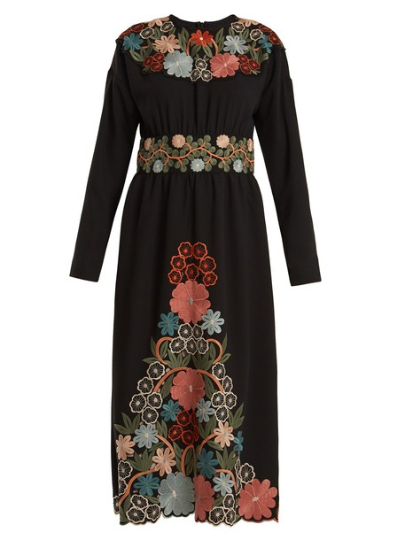 REDValentino dress long embroidered floral black