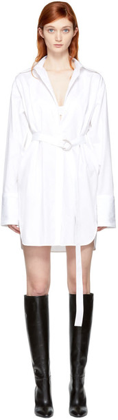 Helmut Lang dress shirt dress oversized shirt dress oversized white