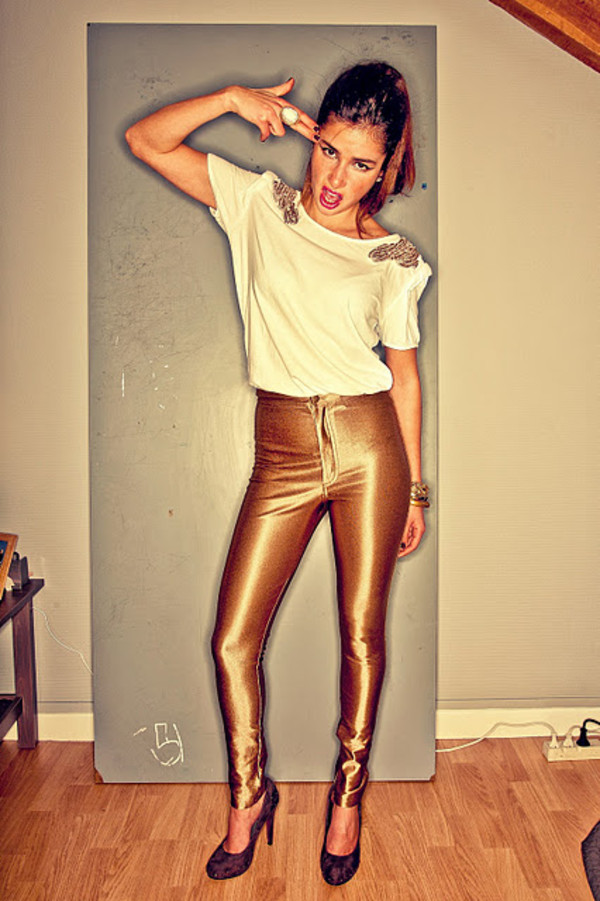 gold golden pants pants shoes blouse