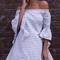 Blue white stripes off shoulder flare sleeve dress