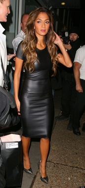 dress,leather fitted black dress