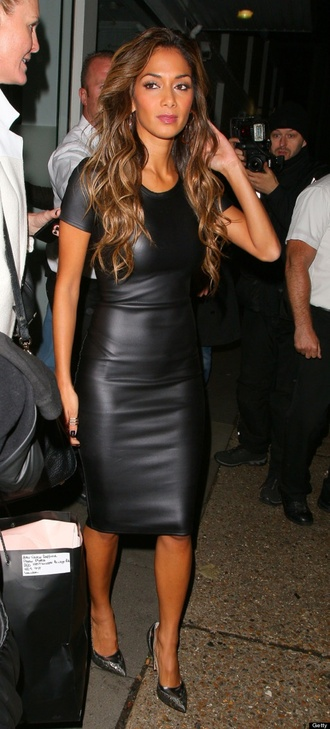 dress leather fitted black dress