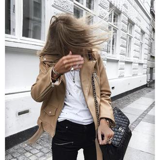 jacket tumblr nude jacket leather jacket top white top pants black pants bag black bag chanel chanel bag
