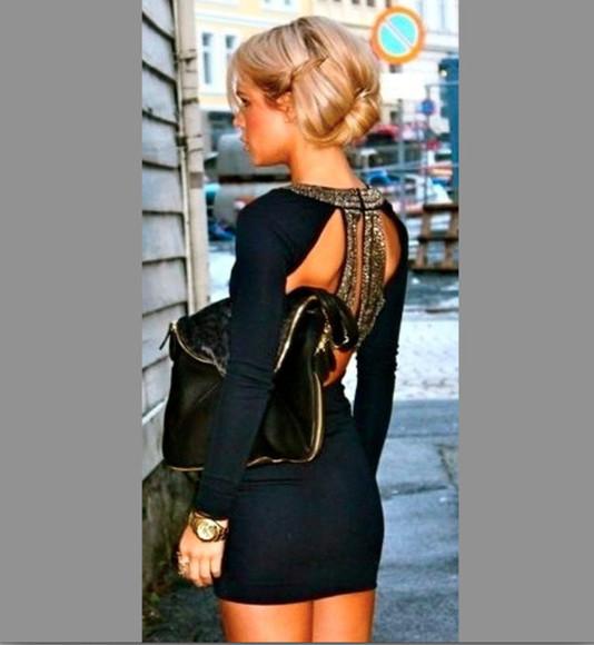 dress black long sleeve dress