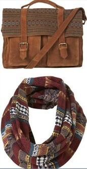 scarf,echarpe tube,navajo,red,burgundy,marron,ethnic print,bag