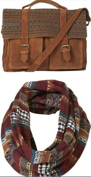 bordeaux scarf echarpe tube navajo red marron ethnic print bag