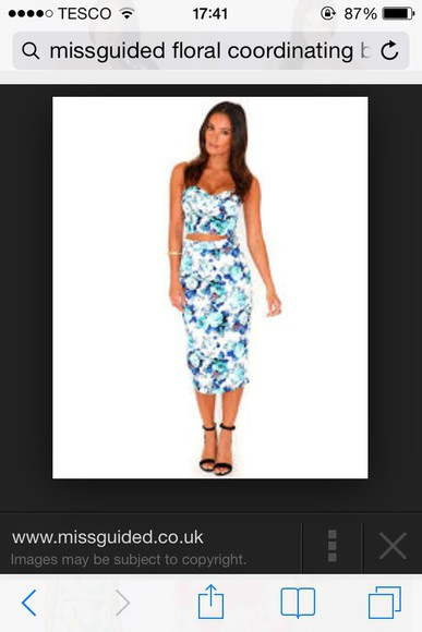 skirt floral skirt blue skirt coordinates
