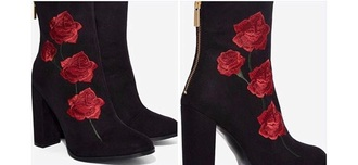 shoes black flowers boots