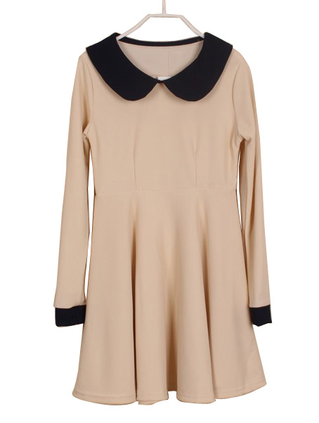 Beige Contrast Lapel Long Sleeve Ruffles Dress - Sheinside.com