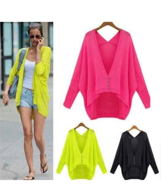 cardigan bright color open open cardigan