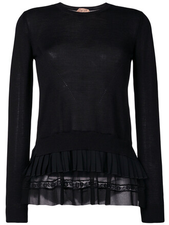 jumper pleated women black silk wool sweater