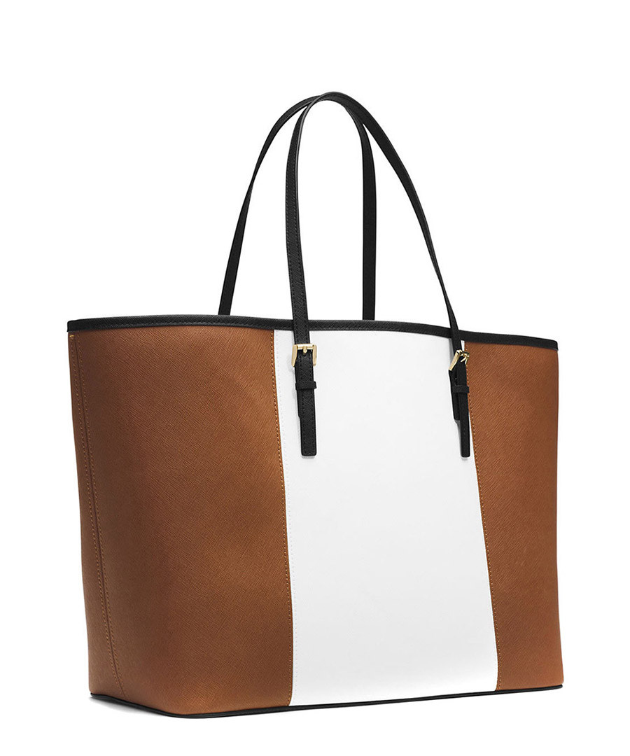 off - Michael Kors Jet Set tan stripe leather travel tote ...