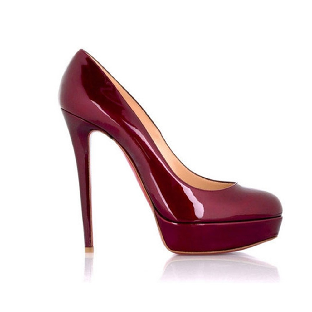 Patent Leather Round Toe Platform Burgundy High Heel Shoes ...