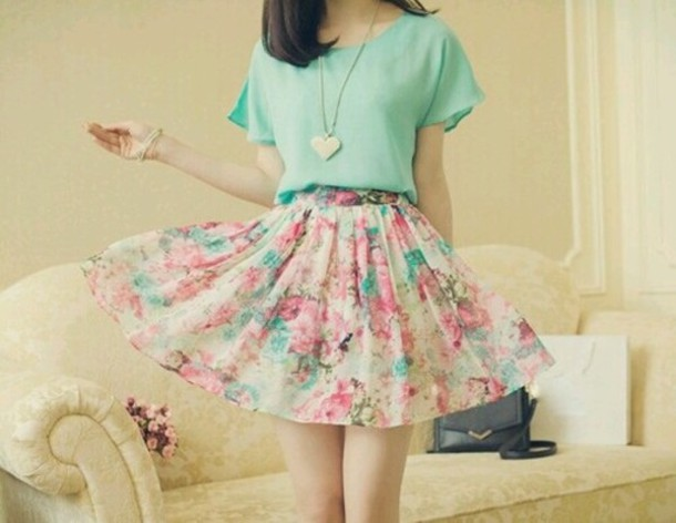 top skirt necklace cute outfits cute mint