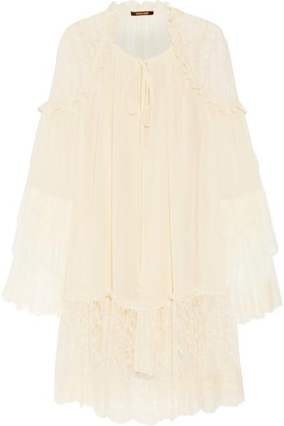 5c690637b7d98e Roberto Cavalli Roberto Cavalli Lace-Trimmed Silk-Georgette Mini Dress in  cream