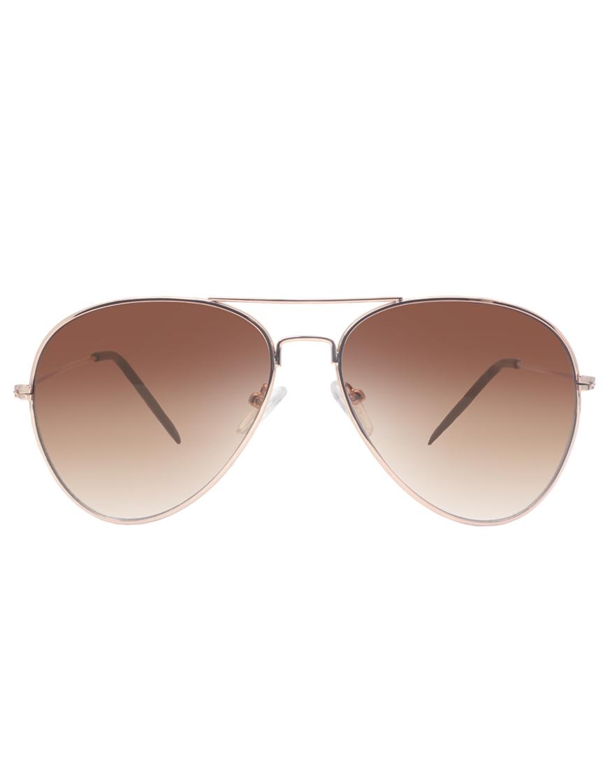 ASOS Gold Aviator Sunglasses at asos.com