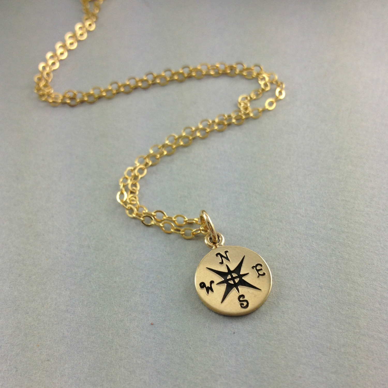Compass Necklace Travelers Best Friend Gift Gold