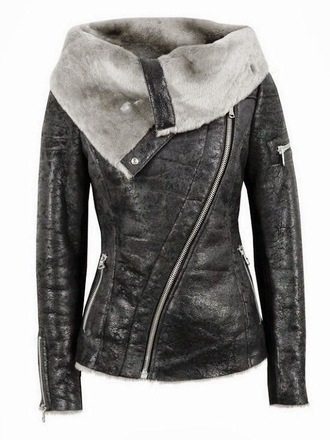 jacket wool zip fur punk gray