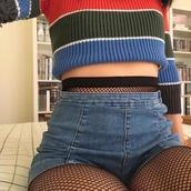 shirt,grunge,tumblr,ootd,outfit,shorts,short,denim,denim shorts,fishnet tights,crop tops,longsleeve crop top
