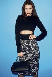 skirt,pencil skirt,crop tops,bella hadid,editorial,purse,midi dress,model,cut-out,printed skirt,cut-out sweater,black sweater