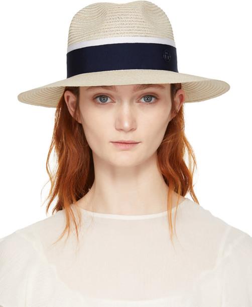 Maison Michel fedora navy beige hat