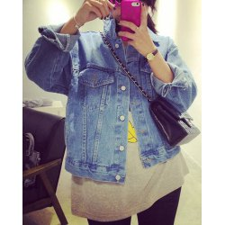 Loose solid color long sleeve turn dwon collar pockets design denim coat for women