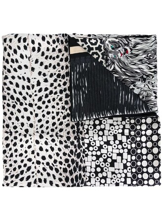 women scarf black silk pattern