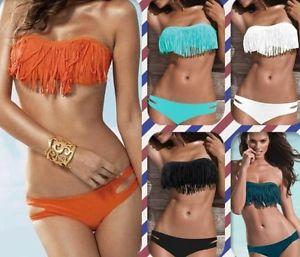 Ladies Fringe Frill Bandeau Bikini Fashion Swimsuit Black White Orange 6 8 10 12 | eBay