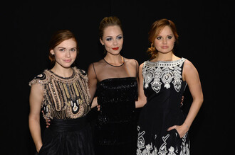 debby ryan holland roden laura vandervoort fashion week dress black black dress